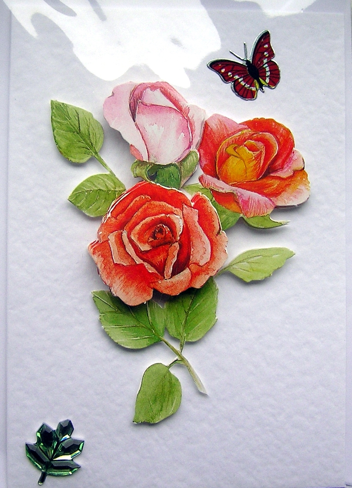Rose Hand-Crafted 3D Decoupage Card - Blank for any Occasion (1444)
