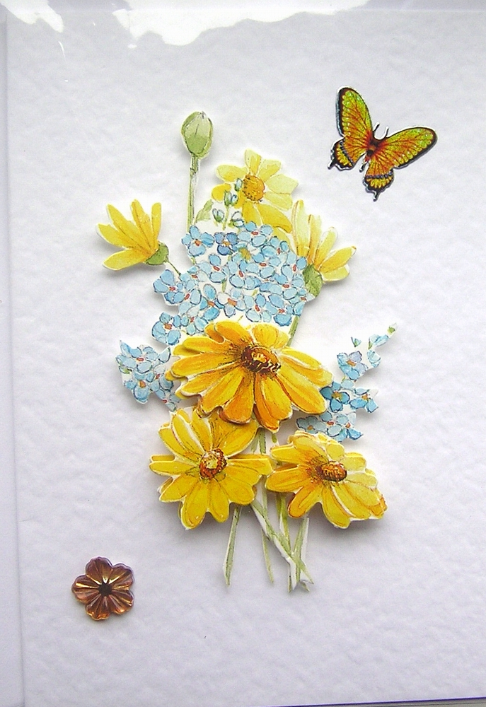 Summer Blooms Hand-Crafted 3D Decoupage Card - Blank for any Occasion (1441)