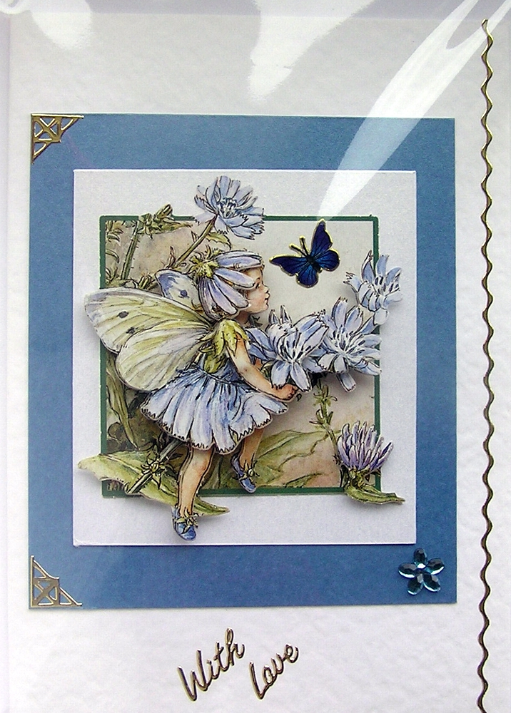 Chicory Fairy Hand-Crafted 3D Decoupage Card - With Love (1450)