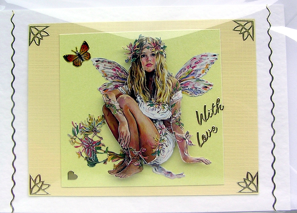 Fairy Hand-Crafted 3D Decoupage Card - With Love (1458)