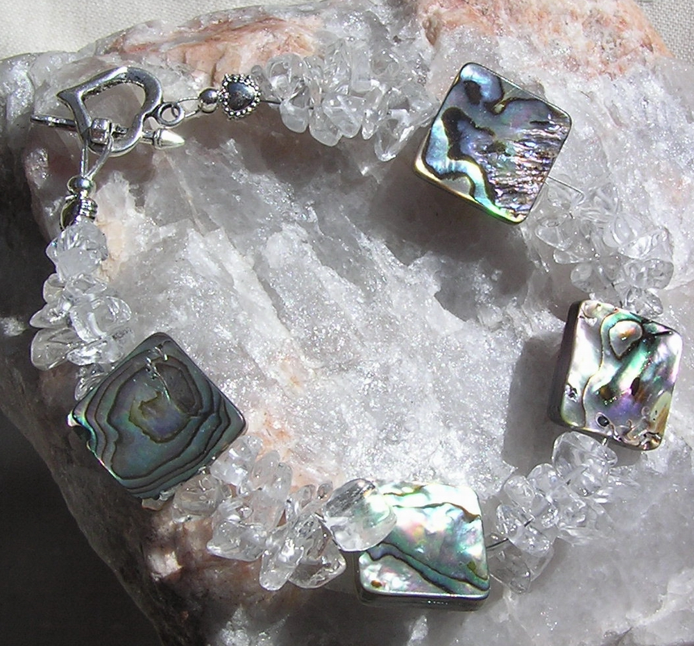 "Abalone Shell & Clear Quartz Crystal Gemstone Bracelet - ""Crystalos"""