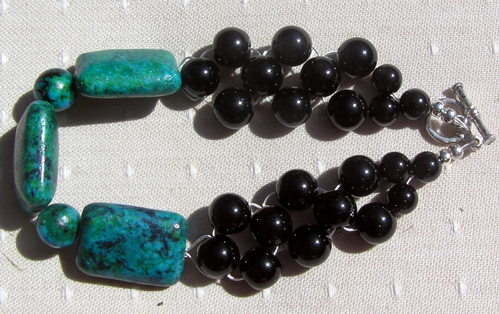 Chrysocolla & Black Onyx Crystal Gemstone Bracelet