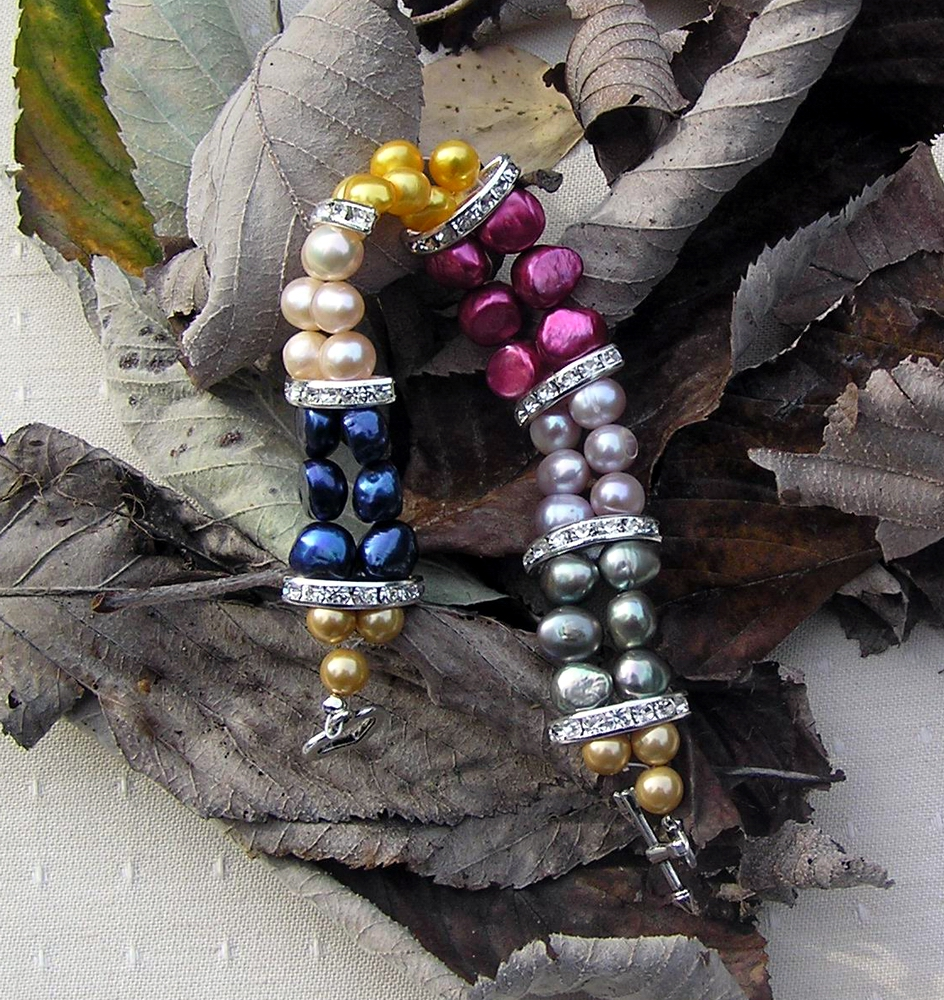 "Multi Coloured Freshwater Pearl Bracelet - ""Party Glitz"""